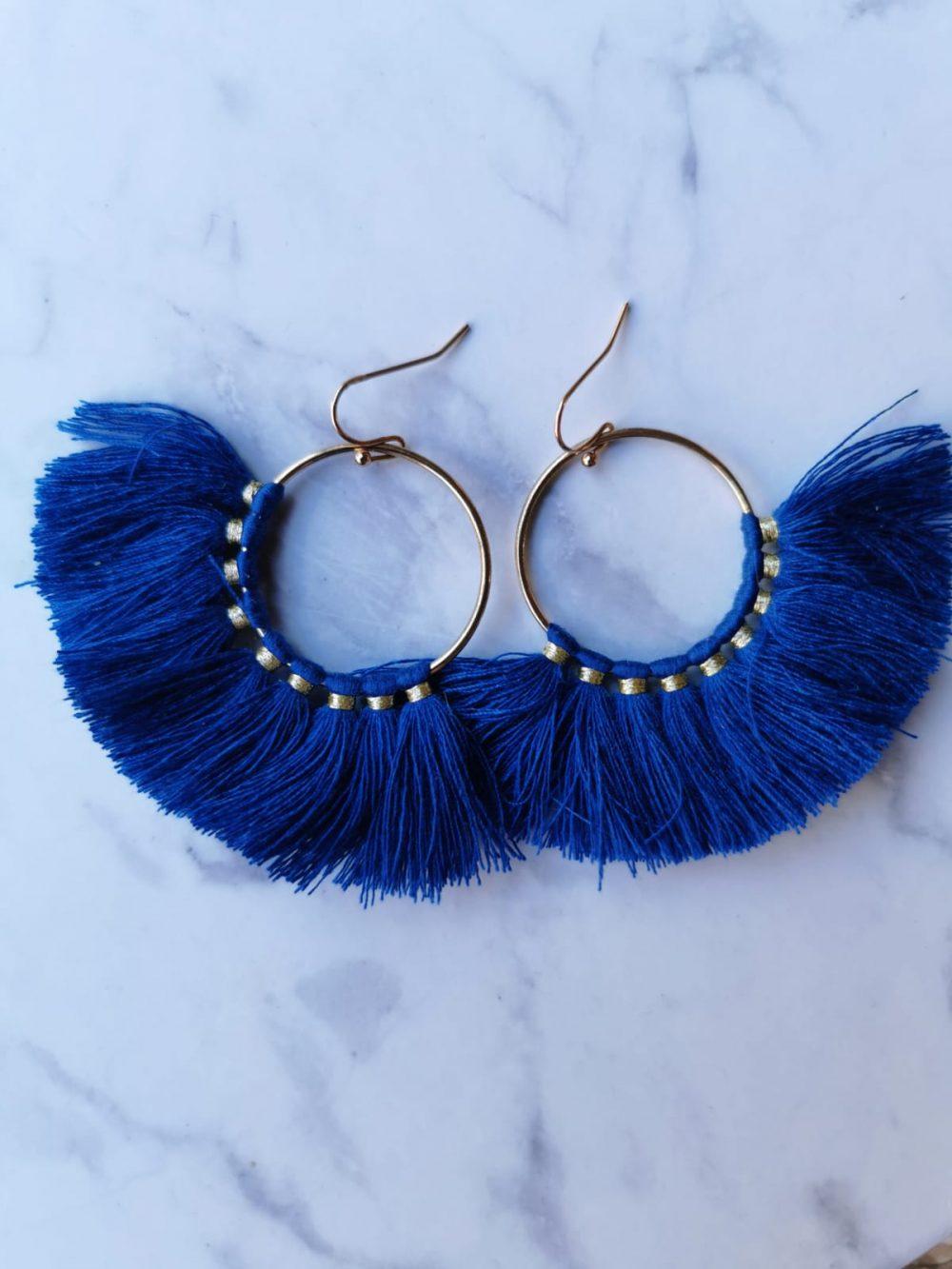 עגילי מניפה פרנזים כחול רויאל